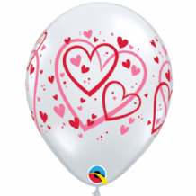 Red & Pink Pattern Hearts - 11 Inch Balloons 50pcs